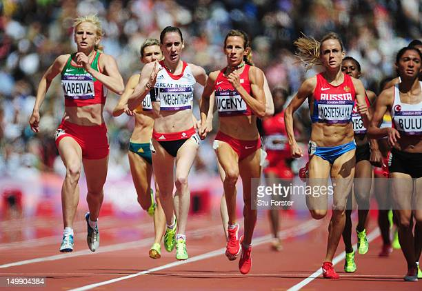 Laura Weightman of Great Britain and Morgan Uceny of the United States compete in the Women's 1500m heat on Day 10 of the London 2012 Olympic Games...