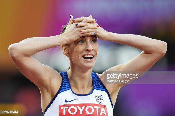 Laura Weightman of Great Britain celebrates following the semi finals of the Women's 1500 metres during day two of the 16th IAAF World Athletics...