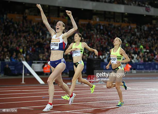 Laura Weightman of Great Britain celebrates winning the Womens 1500m during day one of the Sainsbury's Anniversary Games at The Stadium Queen...