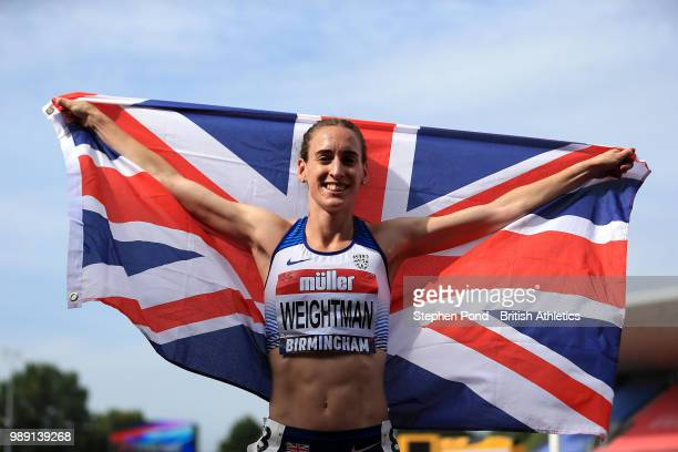 Laura Weightman of Great Britain celebrates winning the Women's 1500m Final during Day Two of the Muller British Athletics Championships at the...