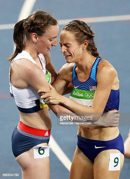 Laura Weightman of Great Britain hugs bronze medalist Jennifer Simpson of the United States after the Women's 1500m Final on Day 11 of the Rio 2016...