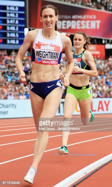 Laura Weightman of Great Britain in action during the Womens 1 Mile race during the Muller Anniversary Games at London Stadium on July 9 2017 in...