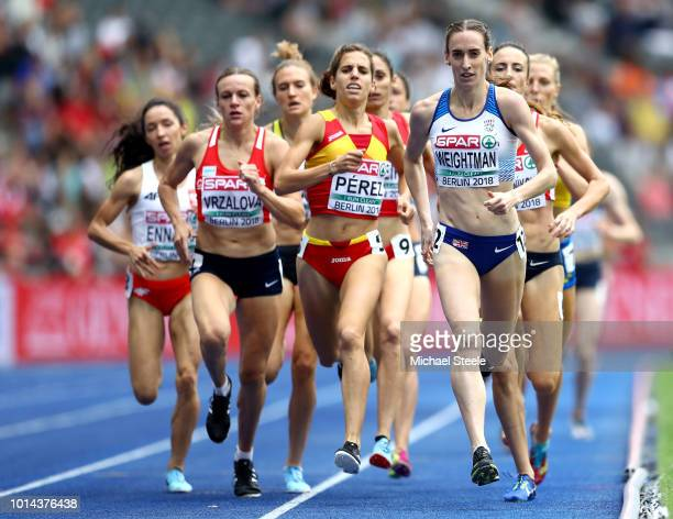 Laura Weightman of Great Britain leads Marta Perez of Spain in the Women's 1500m Qualifying during day four of the 24th European Athletics...