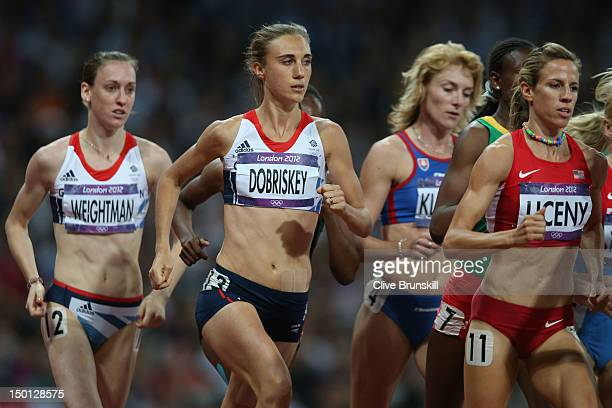 Laura Weightman of Great Britain, Lisa Dobriskey of Great Britain and Morgan Uceny of the United States compete in the Women's 1500m Final on Day 14...