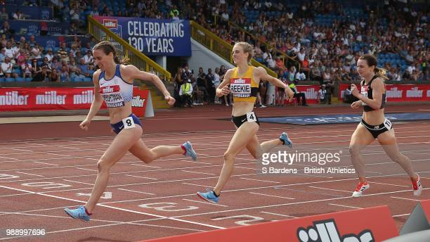 Laura Weightman of Great Britain wins the women's 1500m final during Day Two of the Muller British Athletics Championships at the Alexander Stadium...