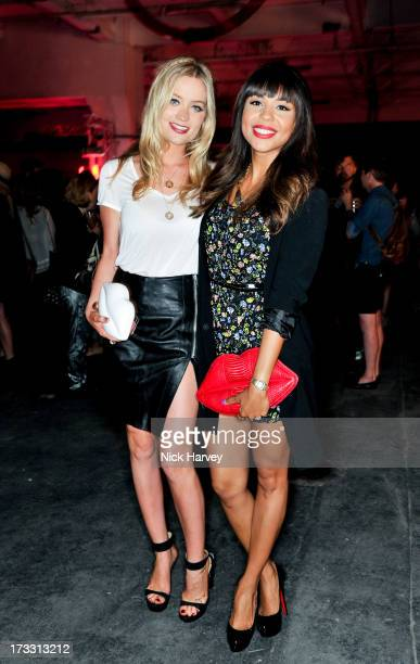 Laura Whitmore and Alexandra Maurer attend the Lulu Guinness Paint Project party at Old Sorting Office on July 11 2013 in London England