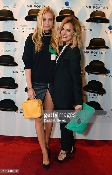 Laura Whitmore and Caroline Flack attend Mr Porter's fifth birthday celebration at The Savile Club on February 20 2016 in London England