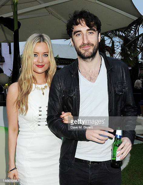 Laura Whitmore and Danny O'Reilly attend the WTA PreWimbledon Party presented by Dubai Duty Free at Kensington Roof Gardens on June 21 2012 in London...