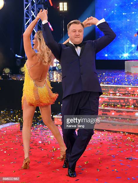 Laura Whitmore and Ed Balls arrive for the Red Carpet Launch of 'Strictly Come Dancing 2016' at Elstree Studios on August 30 2016 in Borehamwood...