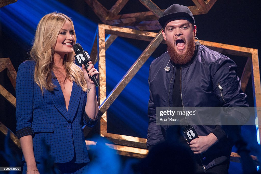 ONLY] Laura Whitmore and Jack Garratt at the nominations launch for The Brit Awards 2016 at ITV Studios on January 14, 2016 in London, England.