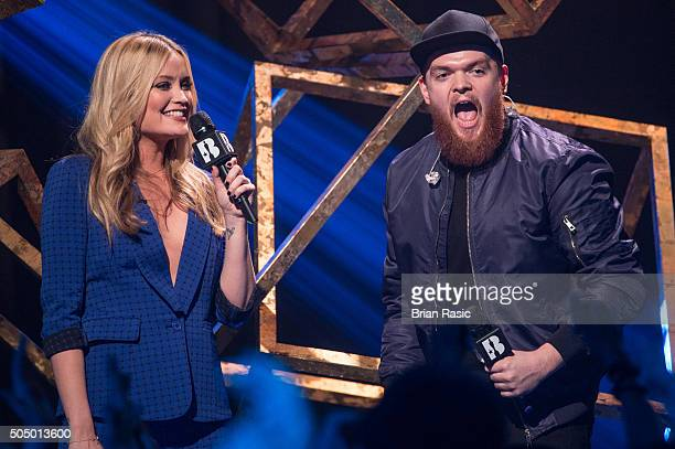 ONLY] Laura Whitmore and Jack Garratt at the nominations launch for The Brit Awards 2016 at ITV Studios on January 14 2016 in London England