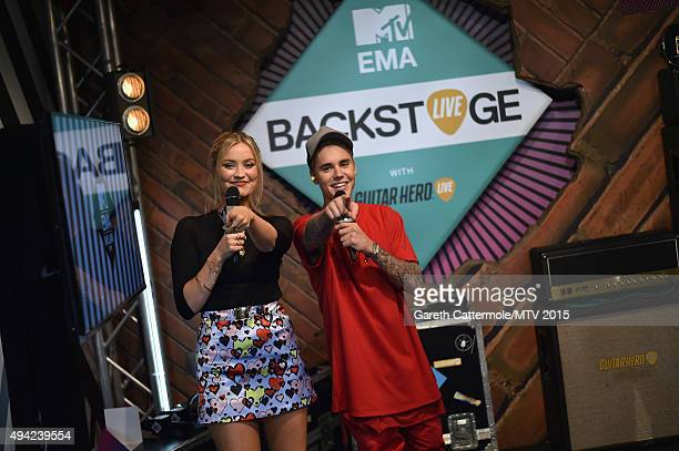 Laura Whitmore and Justin Bieber during the MTV EMA's 2015 at Mediolanum Forum on October 25, 2015 in Milan, Italy.