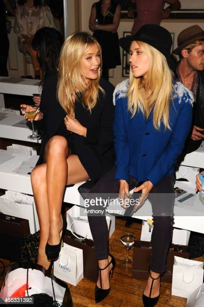 Laura Whitmore and Lady Mary Charteris attend the Gyunel show during London Fashion Week Spring Summer 2015 at Victoria House on September 12 2014 in...