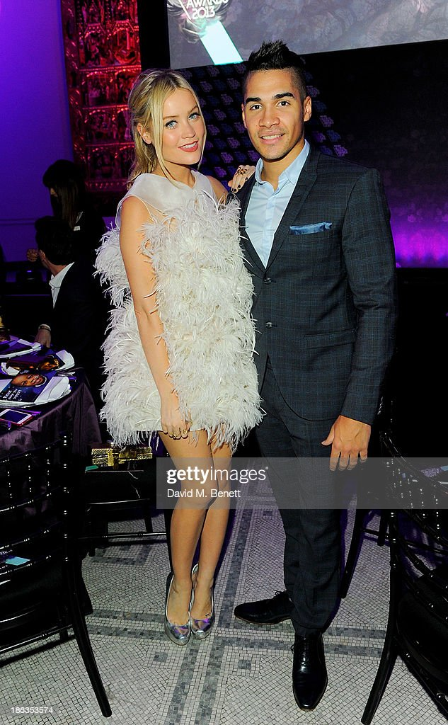 Laura Whitmore (L) and Louis Smith attend the WGSN Global Fashion Awards at the Victoria & Albert Museum on October 30, 2013 in London, England.