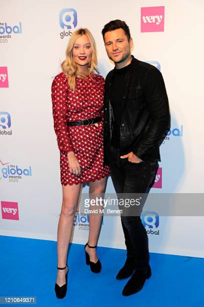 Laura Whitmore and Mark Wright pose in the Winners Room during The Global Awards 2020 at the Eventim Apollo Hammersmith on March 05 2020 in London...