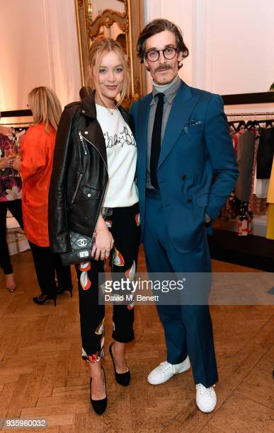 Laura Whitmore and Richard Biedul attend the House of Fraser SS18 launch dinner at One Belgravia on March 21 2018 in London England