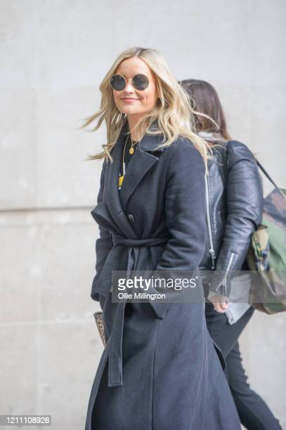 Laura Whitmore arrives at BBC Broadcast House for her BBC Radio 5 Live radio show on March 08 2020 in London England