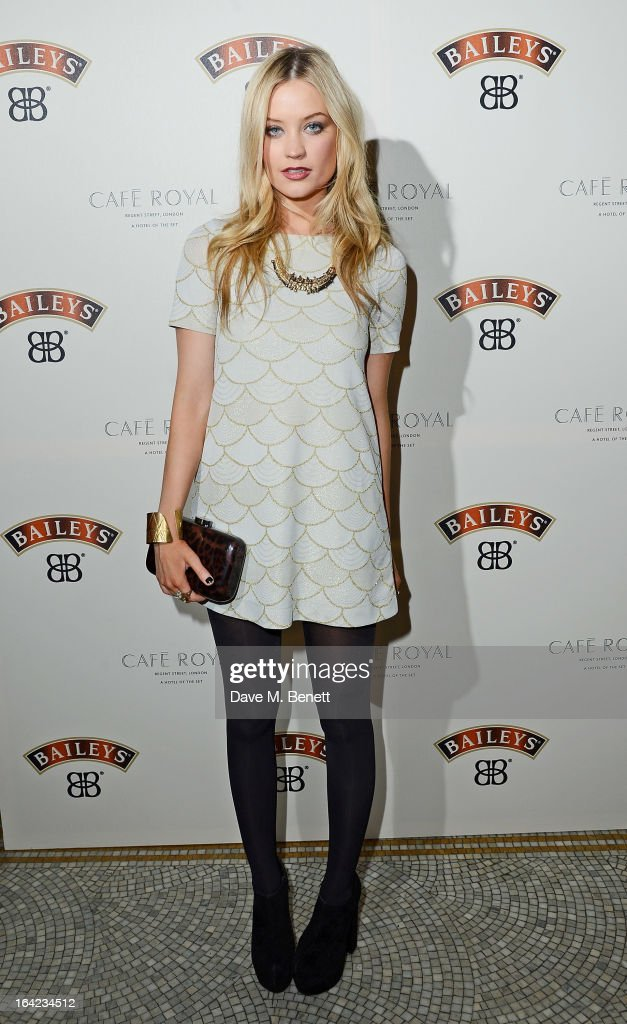 Laura Whitmore arrives at the launch of Baileys new sleek bottle design at the Cafe Royal hotel on March 21, 2013 in London, England.