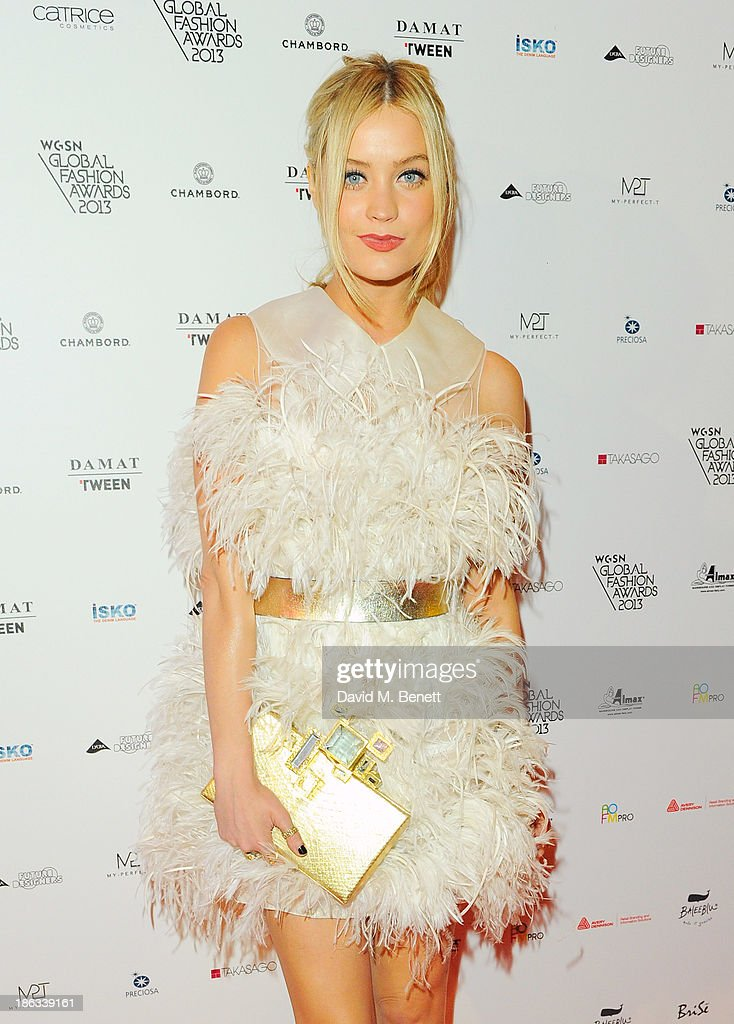 Laura Whitmore arrives at The WGSN Global Fashion Awards at the Victoria & Albert Museum on October 30, 2013 in London, England.