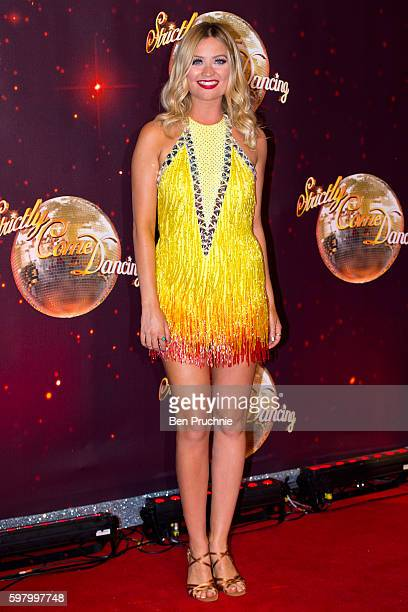 Laura Whitmore arrives for the launch of 'Strictly Come Dancing 2016' at Elstree Studios on August 30 2016 in Borehamwood England