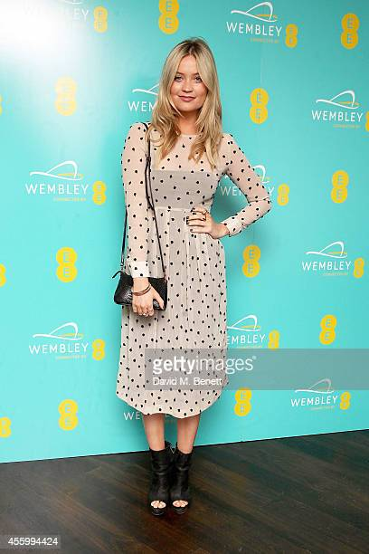Laura Whitmore at Hilton London Wembley to celebrate the next stage of the partnership between EE and Wembley Stadium on September 23 2014 in Wembley...