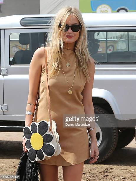Laura Whitmore at the Glastonbury Festival at Worthy Farm Pilton on June 27 2015 in Glastonbury England