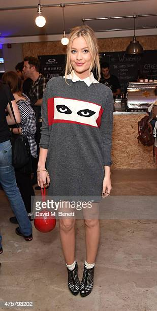 Laura Whitmore attend the launch of OAKLEY IN RESIDENCE LONDON a popup cycling destination and hangout for creative collaboration on June 3 2015 in...