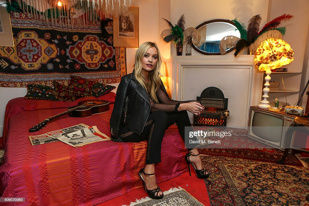 Laura Whitmore attends a private view of 'Hendrix At Home' at Jimi Hendrix's restored former Mayfair flat on February 9, 2016 in London, England.