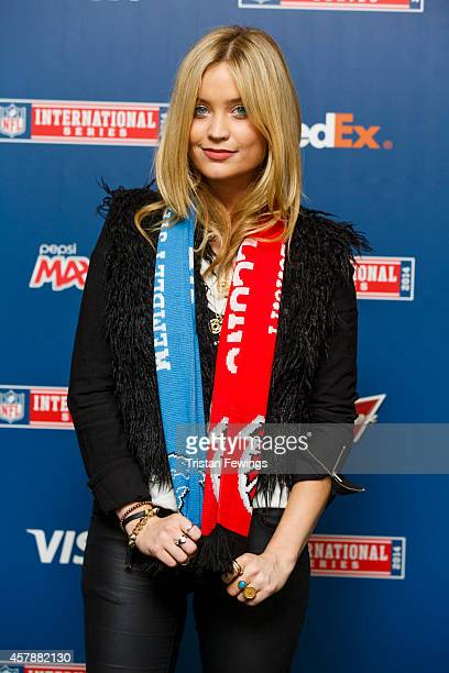 Laura Whitmore attends as Detroit Lions take on Atlanta Falcons in an NFL game at Wembley Stadium on October 26 2014 in London England