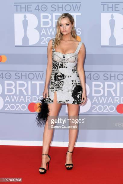 Laura Whitmore attends The BRIT Awards 2020 at The O2 Arena on February 18 2020 in London England