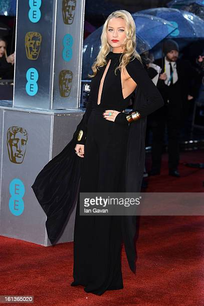 Laura Whitmore attends the EE British Academy Film Awards at The Royal Opera House on February 10 2013 in London England