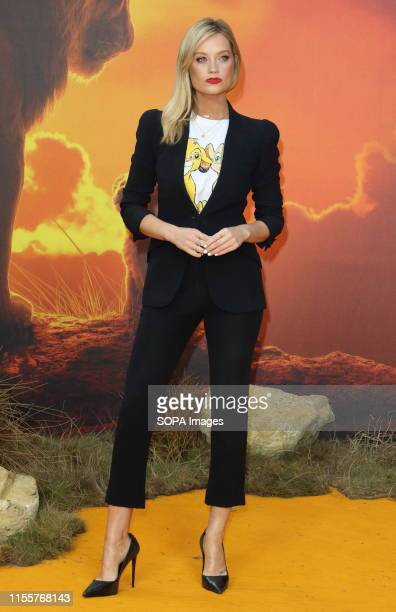 Laura Whitmore attends the European Premiere of Disney's The Lion King at the Odeon Luxe cinema Leicester Square in London