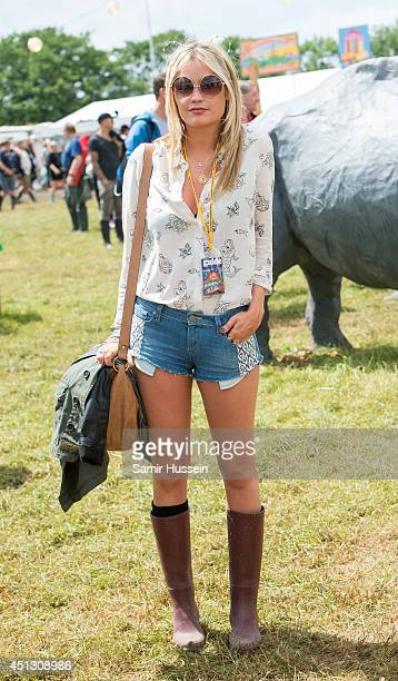 Laura Whitmore attends the Glastonbury Festival at Worthy Farm on June 27 2014 in Glastonbury England