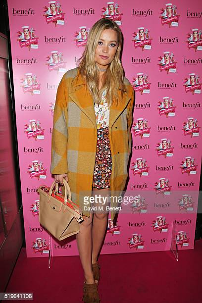 Laura Whitmore attends the launch of 'Good Ship Benefit' a beauty and entertainment destination opening on the River Thames and run by Benefit...