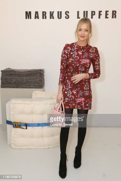 Laura Whitmore attends the Markus Lupfer presentation during London Fashion Week February 2019 at Victoria House on February 16 2019 in London England
