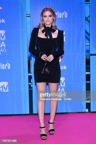 Laura Whitmore attends the MTV EMAs 2018 on November 4 2018 in Bilbao Spain