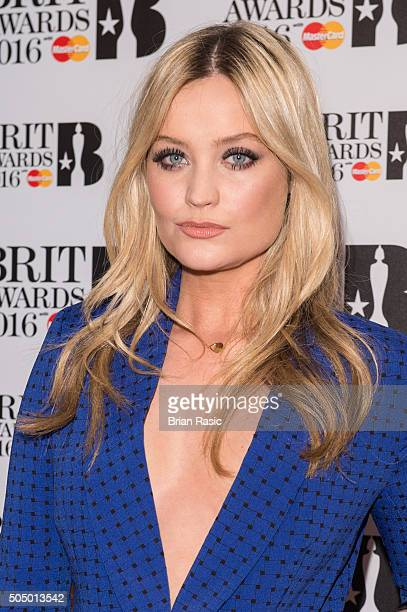 ONLY] Laura Whitmore attends the nominations launch for The Brit Awards 2016 at ITV Studios on January 14 2016 in London England
