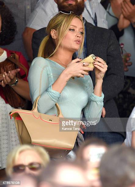Laura Whitmore attends the Philipp Kohlschreiber v Novak Djokovic match on day one of the Wimbledon Tennis Championships on June 29 2015 in London...