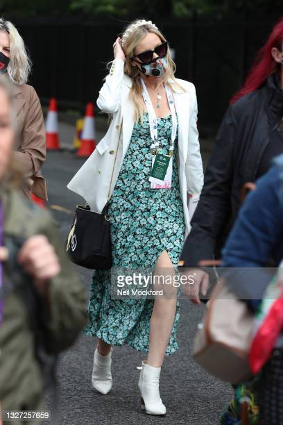 Laura Whitmore attends Wimbledon Championships Tennis Tournament Day 8 at All England Lawn Tennis and Croquet Club on July 06, 2021 in London,...