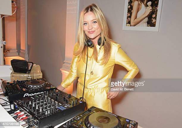 Laura Whitmore DJ's at the Magnum Pink and Black launch party at the ICA on April 22 2015 in London England