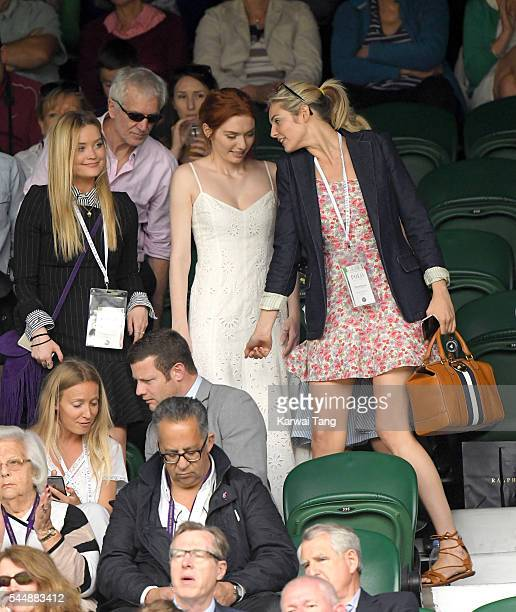 Laura Whitmore Eleanor Tomlinson and Tamsin Egerton attend day eight of the Wimbledon Tennis Championships at Wimbledon on July 04 2016 in London...