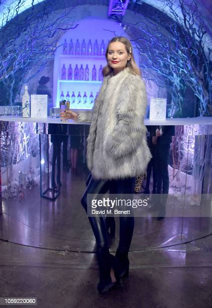 Laura Whitmore enjoys a White Walker cocktail at the Johnnie Walker Frozen Forest popup in Shoreditch to celebrate the launch of the limitededition...