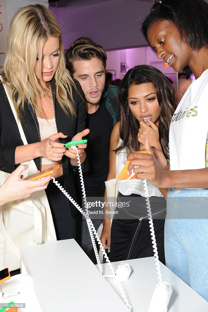 Laura Whitmore, Gary Salter and Vanessa White attend the Nokia Lumia 630 #100aires Pop-up store, at The Old Truman Brewery on July 2, 2014 in London, England.