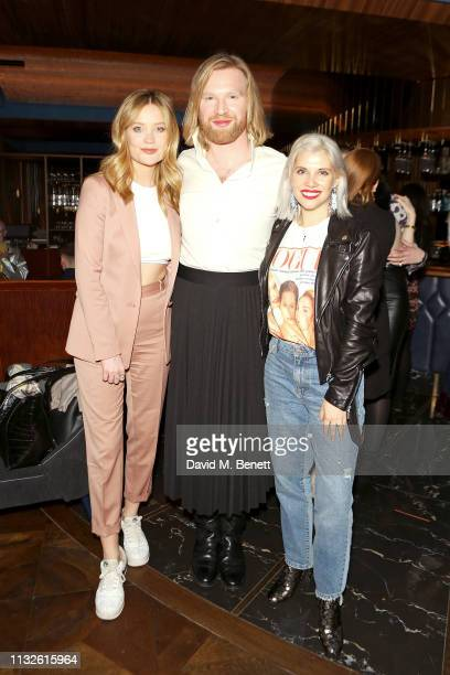 Laura Whitmore Henry Conway and Pips Taylor attend a party hosted by Gina Martin and Ryan Whelan to celebrate the Royal ascent into law of the...