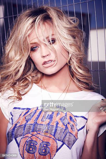 Laura Whitmore is photographed for Cosmopolitan UK on June 15 2013 Styling Sairey Stemp Makeup Aimee Adams and Alex Chalk Hair Enzo Volpe Tshirt by...