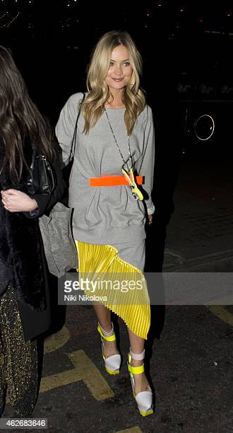 Laura Whitmore is seen arriving at the Ace hotel Shorditch on February 2 2015 in London England