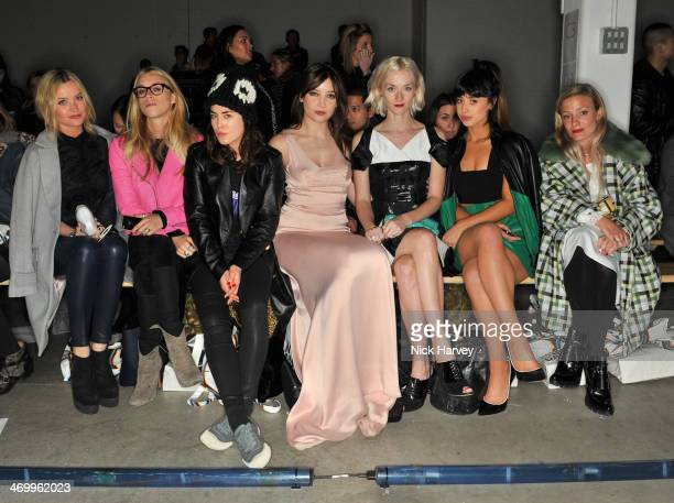 Laura Whitmore Mary Charteris Tallulah Harlech Daisy Lowe Portia Freeman Foxes and Kate Foley attend the Giles show at London Fashion Week AW14 at on...