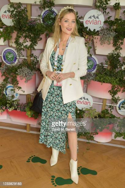 Laura Whitmore poses in evian's VIP suite, certified as carbon neutral by The Carbon Trust, during day eight of The Championships at Wimbledon on...