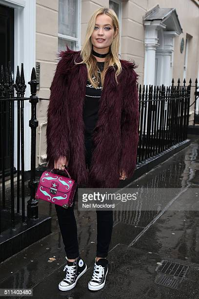 Laura Whitmore seen in Converse trainers at Holly Fulton AW16 at BFC Show Space on February 20 2016 in London England