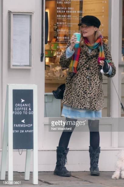 Laura Whitmore seen walking her dog and getting a coffee in Westbourne Grove, Notting Hill sighting on February 17, 2021 in London, England.